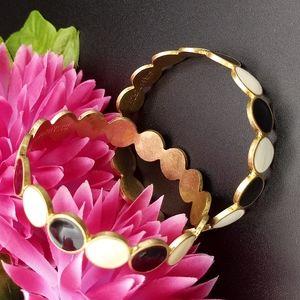 Kate Spade Saturday Black & White Dot on Gold-tone Bangle Bracelet x2